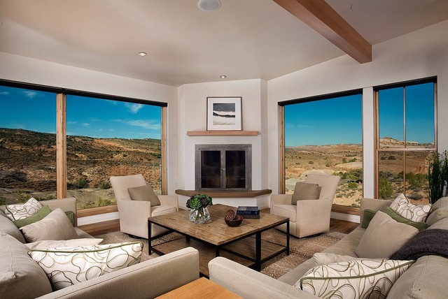 swivel recliner chairs Living Room Southwestern with contemporary corner fireplace custom carpet Stark carpet exposed beams