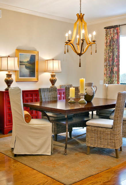 Swoop Chair Dining Room Transitional with and Floral Drapery Panels Borders T and Its Light