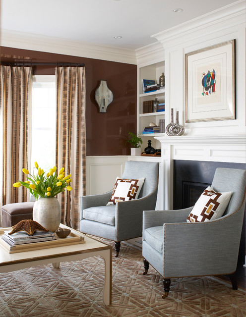 swoop chair Living Room Traditional with armchairs brown wall built in shelves carpet coffee table