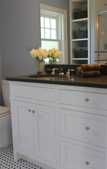 Symmons Faucets Bathroom Traditional with Benjamin Moore November Skies Black and White Basketweave Caesarstone
