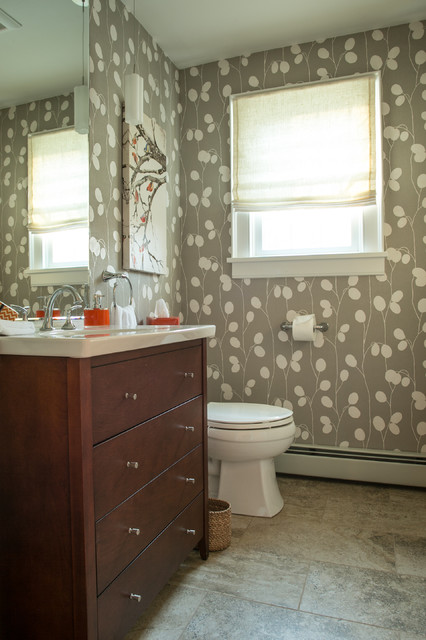 Symmons Faucets Bathroom Transitional with Gray and White Wallpaper Jamestown Kitchen Master Bathroom North