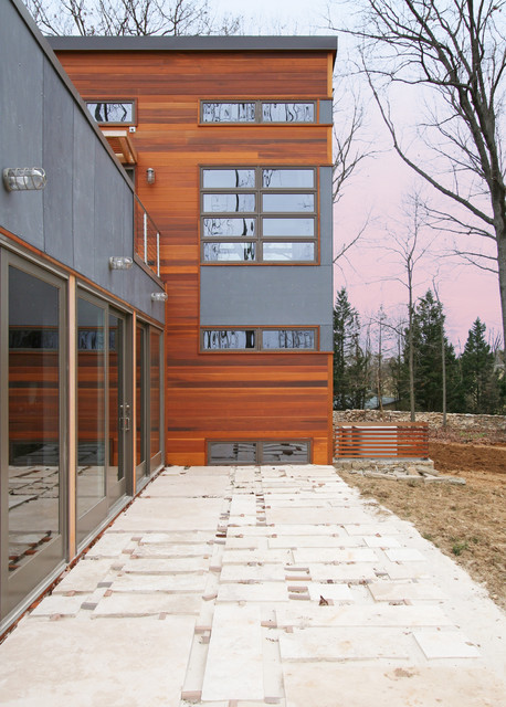 T1 11 Siding Exterior Contemporary with Cable Railing Dark Gray Exterior Dark Grey Exterior Flat