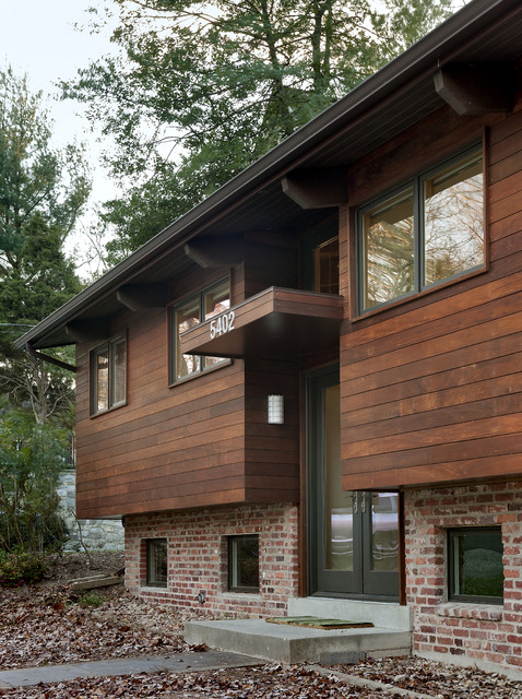 T111 Siding Exterior Contemporary with Brick Brick Exterior Canopy Concrete Walkway Curb Appeal Dark