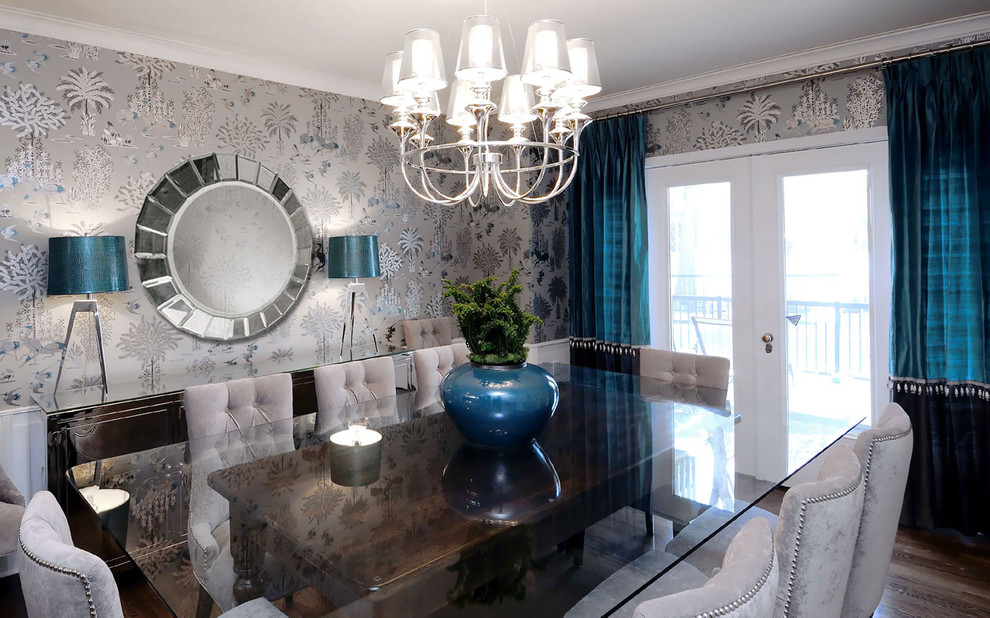 Table Bases for Glass Tops Dining Room Transitional with Curtains Drapes French Doors Glass Dining Table