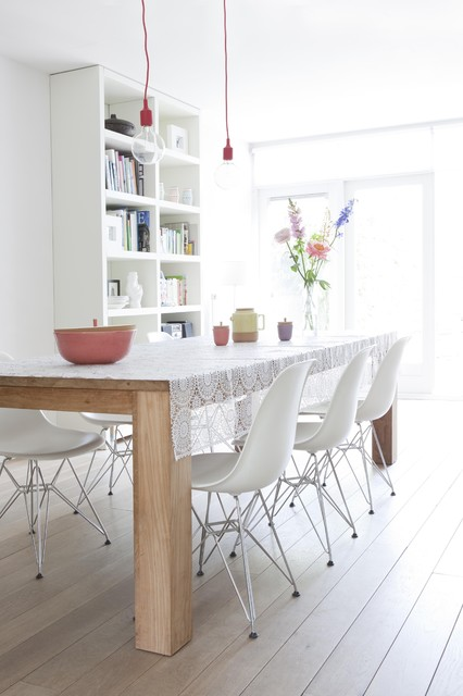 Table Cloths Factory Dining Room Modern with Bare Bulb Pendant Blonde Wood Bookcase Farm Table Floral Arrangement