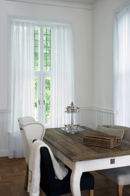 Tabletop Water Fountains Dining Room Rustic with Curtains Drapery Drapes Linen Drapery Pinch Pleat Drapery Pinch