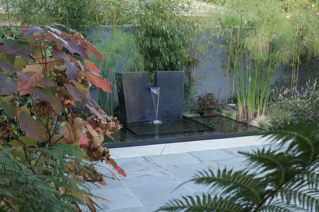 Tabletop Water Fountains Landscape Modern with Bamboo Concrete Concrete Paver Pond Water Feature