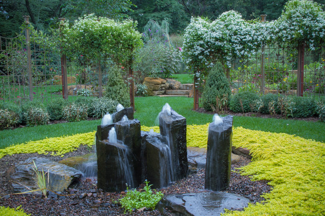 Tabletop Water Fountains Landscape Rustic with Backyard Boulders Bright Green Climbing Plants Decor Fountains Gravel