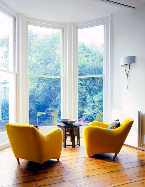 Tall Directors Chair Living Room Scandinavian with Bay Window Floor to Ceiling Windows Sconces Sitting Area
