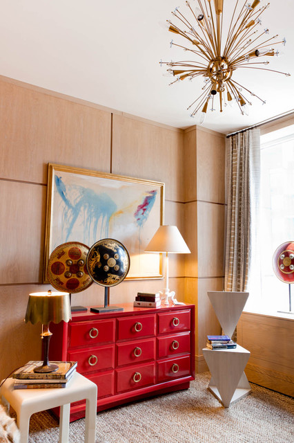 tall narrow dresser Bedroom Contemporary with chest of drawers curtains drapes dresser red accent sputnik