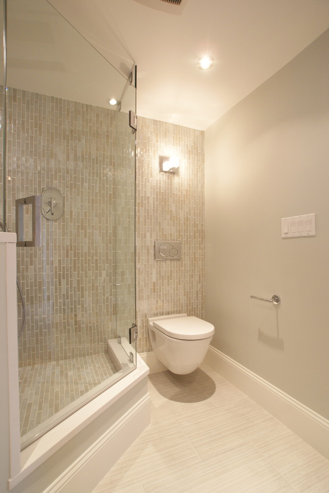 Tankless Toilet Bathroom Modern with Accent Wall Baseboards Bathroom Tile Ceiling Lighting