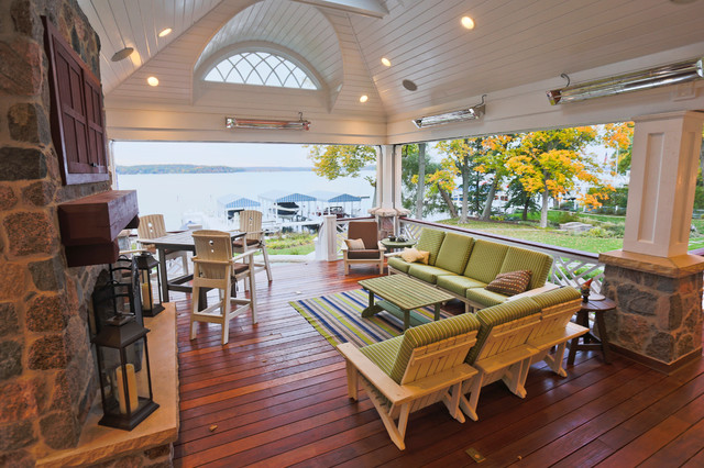 tankless water heater lowes Porch Traditional with Adirondack chairs chippendale railing Fireplace fireplace mantel Fontana heated