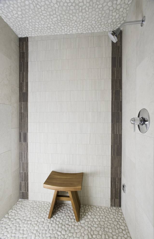Teak Shower Stool Bathroom Contemporary with Aggregate Floor Natural Colors Shower Bench Shower