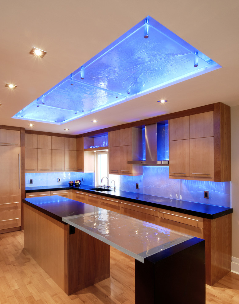Tempered Glass Countertop Kitchen Contemporary with Back Lighting Backsplash Beige Wall Black Countertop