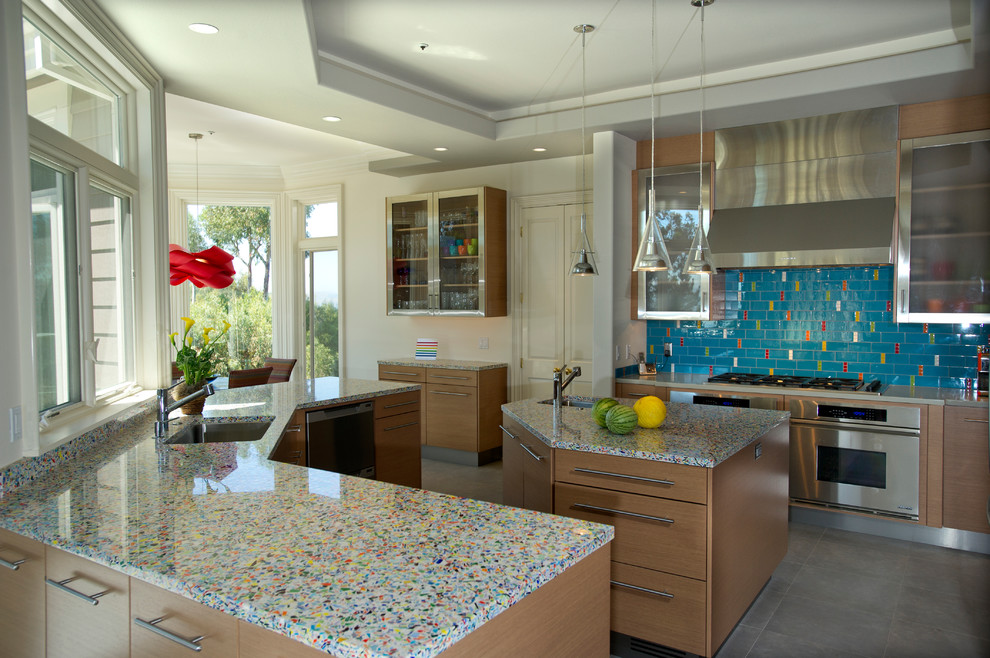 Tempered Glass Countertop Kitchen Contemporary with Bay Bay Area Before Blue Backsplash Breakfast