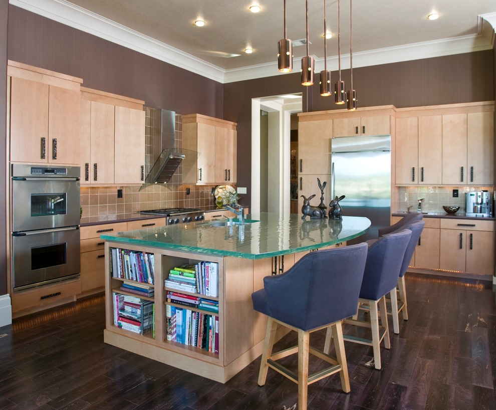 Tempered Glass Countertop Kitchen Contemporary with Ceiling Lighting Crown Molding Dark Floor Double
