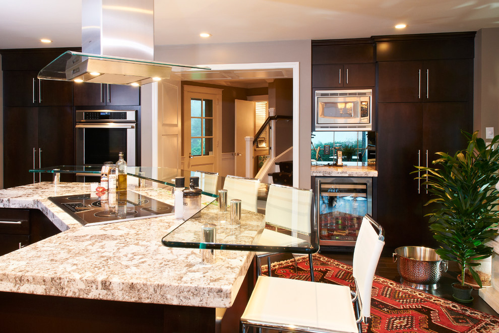 Tempered Glass Countertop Kitchen Modern with Bar Height Stools Bar Stools Built In