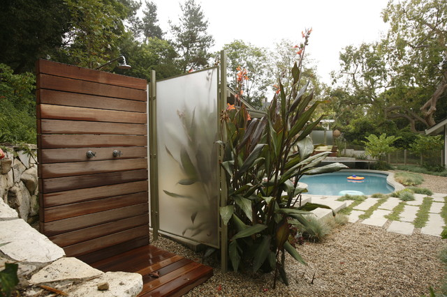 tempered glass panels Patio Contemporary with frosted glass gravel patio outdoor shower Pool rock wall