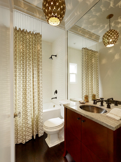 Tension Rods for Curtains Bathroom Transitional with Contemporary Lighting Flat Panel Cabinets Gray Countertop Patterned Shower