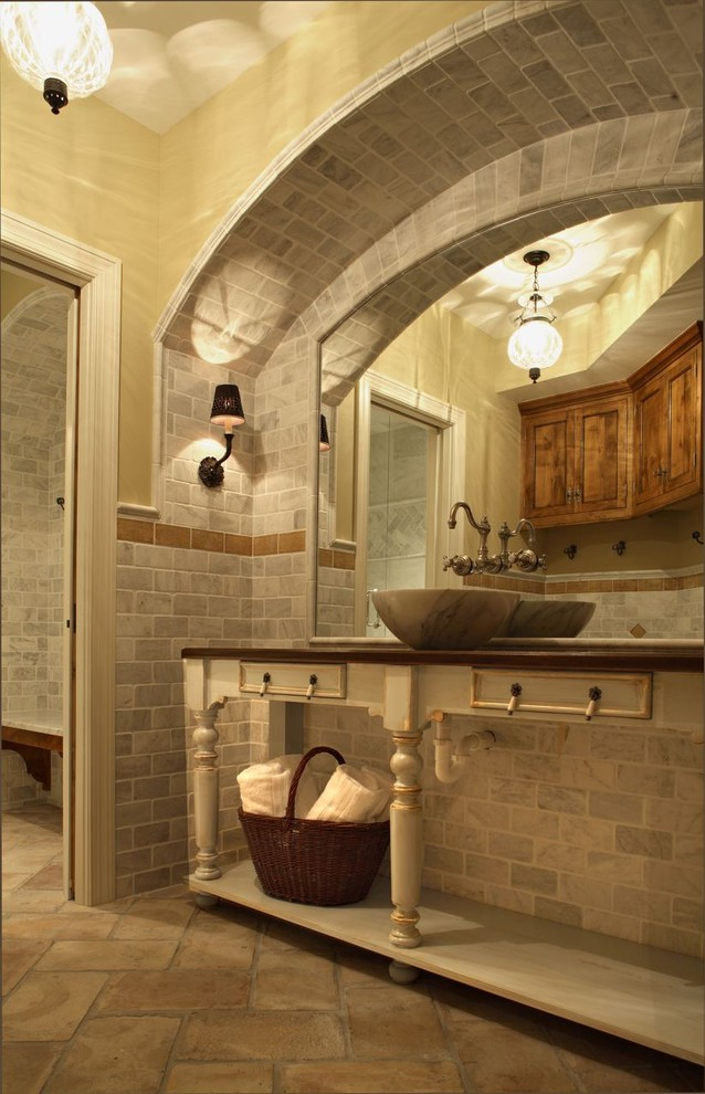 Terracotta Floor Tile Bathroom Traditional with Alcove Arch Gray Tile Wall Mirror Mounted1