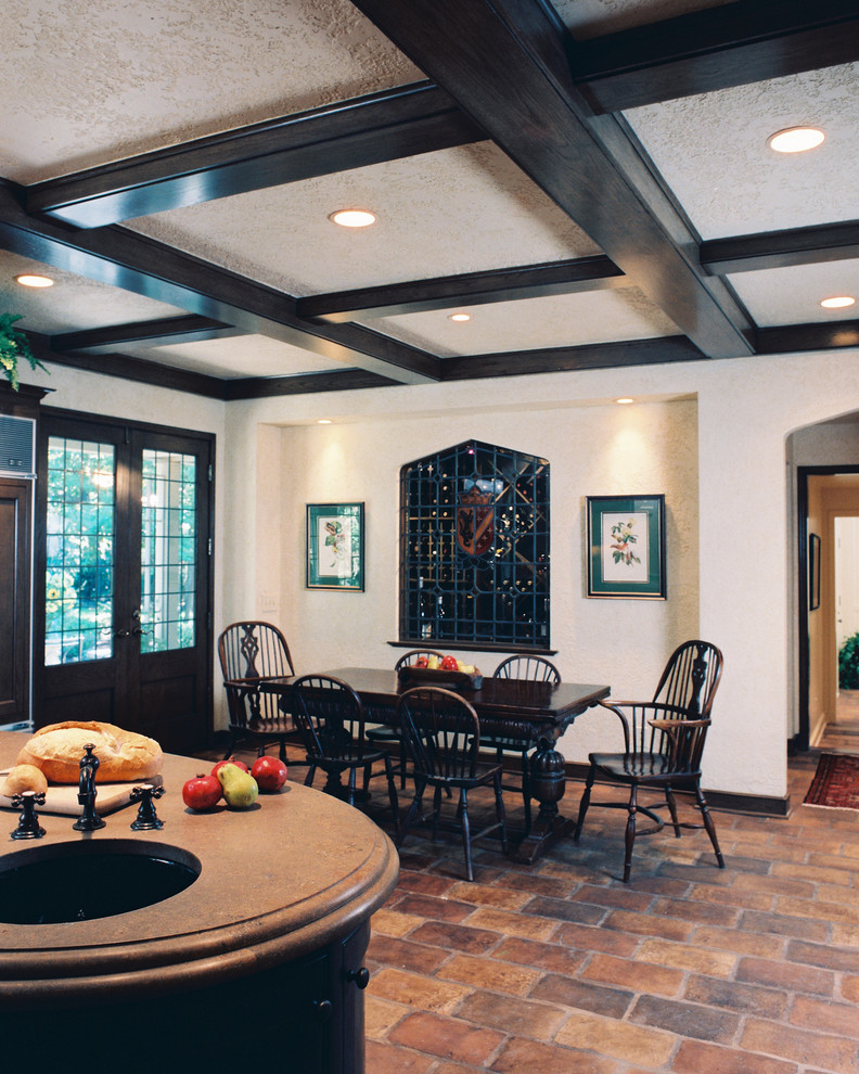 Terracotta Floor Tile Kitchen Traditional with Brick Flooring Ceiling Lighting Coffered Ceiling Kitchen1
