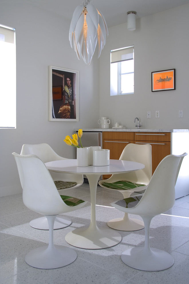 Terrazzo Floors Dining Room Modern with Chair Pads Eat in Kitchen Marble Saarinen Sculptural