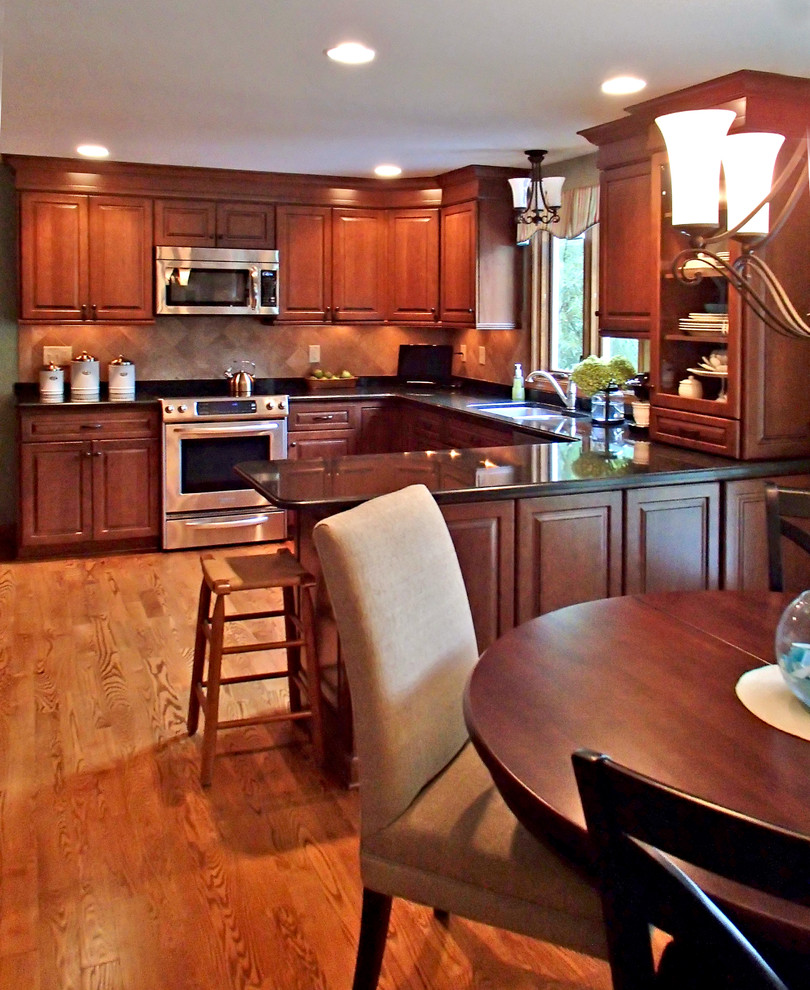 Terrazzo Floors Kitchen Traditional with Barstools Chandelier Dining Set Hardwood Flooring Kitchen