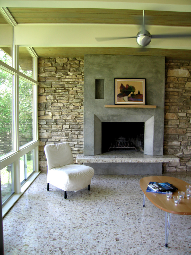 Terrazzo Floors Living Room Modern with Austin Fireplace Modern Stone Stucco Terrazzo