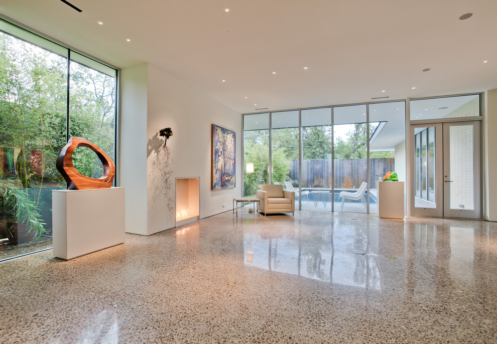 Terrazzo Floors Living Room Modern with Gallery Glass Doors Glass Wall Large Window
