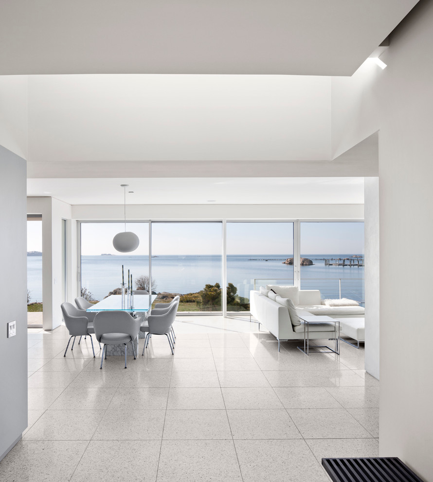 Terrazzo Tile Dining Room Modern with Coastal Connecticut Glass Dining Table Light Gray