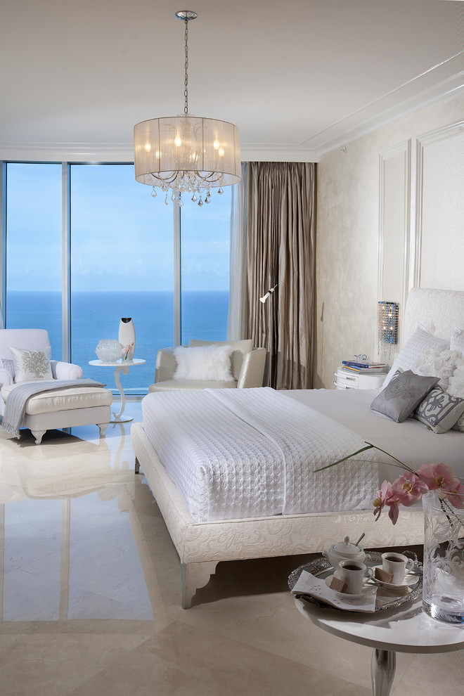 Tesoro Tile Bedroom Contemporary with Bed Pillows Crown Molding Curtains Drapes Monochromatic