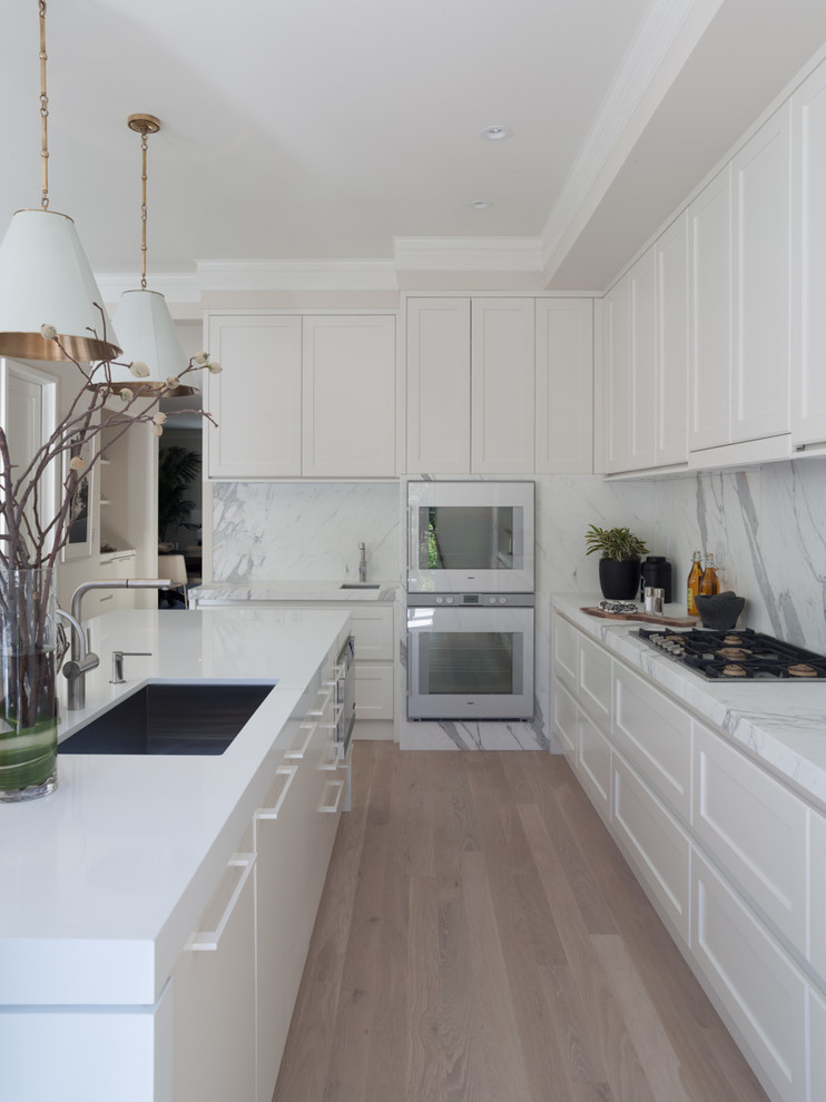 Thassos Marble Kitchen Contemporary with Conical Lamp Shades Crown Molding Double Oven
