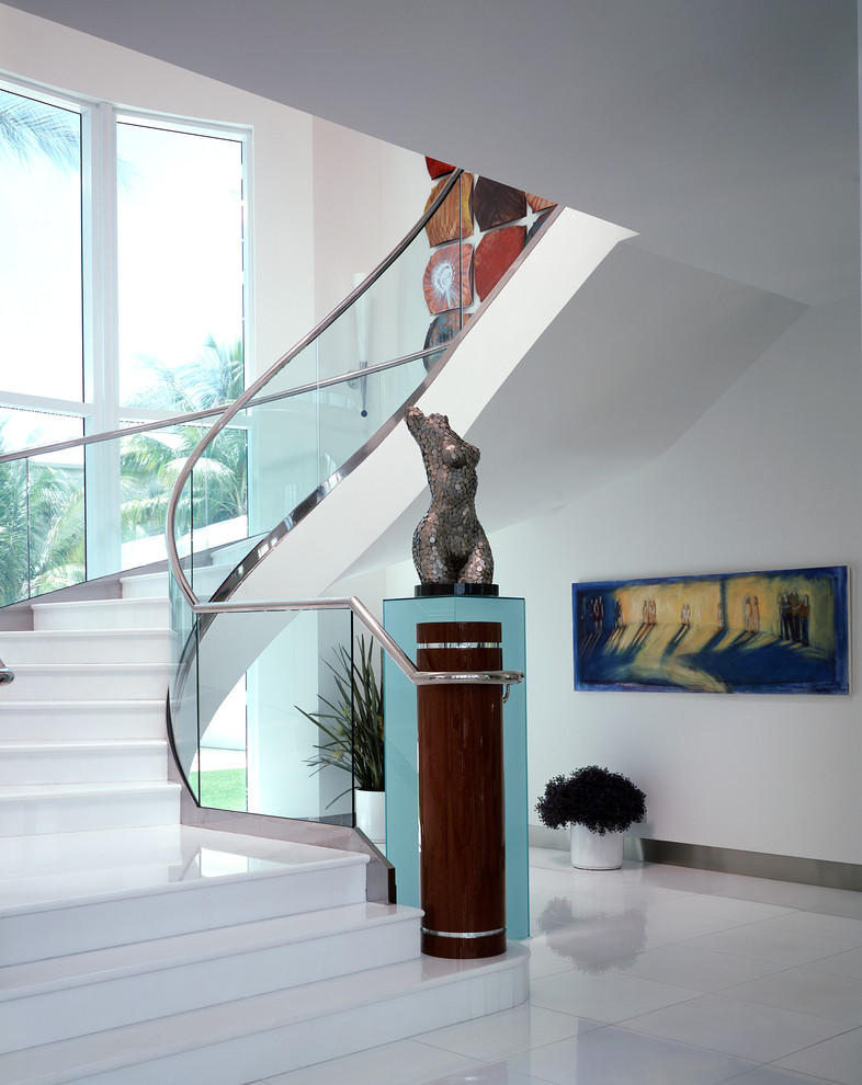 Thassos Marble Staircase Contemporary with Art Pedestal Art Sculpture Curved Glass Railing