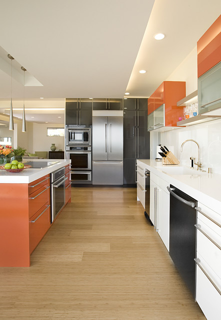 Thermador Cooktop Kitchen Contemporary with Bamboo Flooring Ceiling Lighting Cooktop Glossy Kitchen Hardware Kitchen