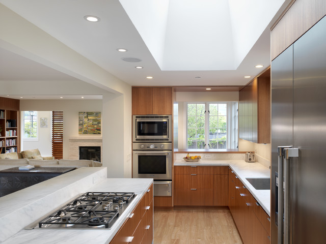 thermador microwave Kitchen Modern with ceiling lighting kitchen hardware kitchen island recessed lighting skylights