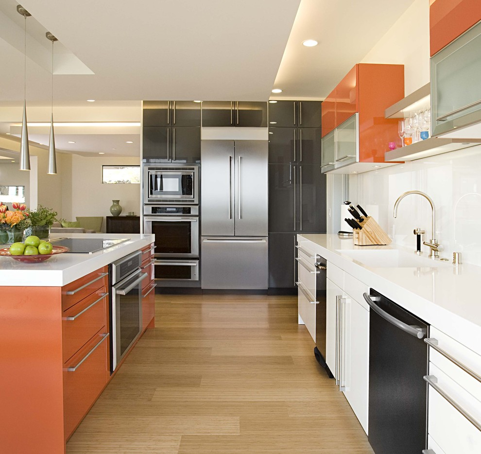 Thermofoil Cabinets Kitchen Contemporary with Bar Handles Black Black Dishwasher Charcoal Gray