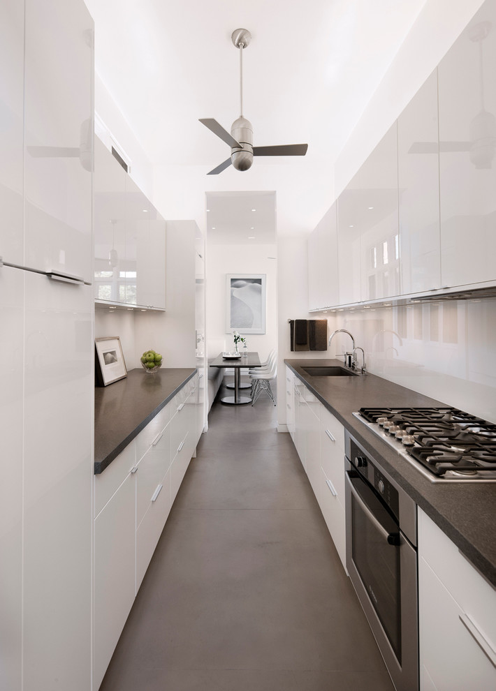 Thermofoil Cabinets Kitchen Contemporary with Breakfast Area Ceiling Fan High Gloss White