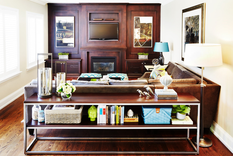 Thin Console Table Family Room Contemporary with Brown Couch Built in Storage Decorative Pillows Plantation