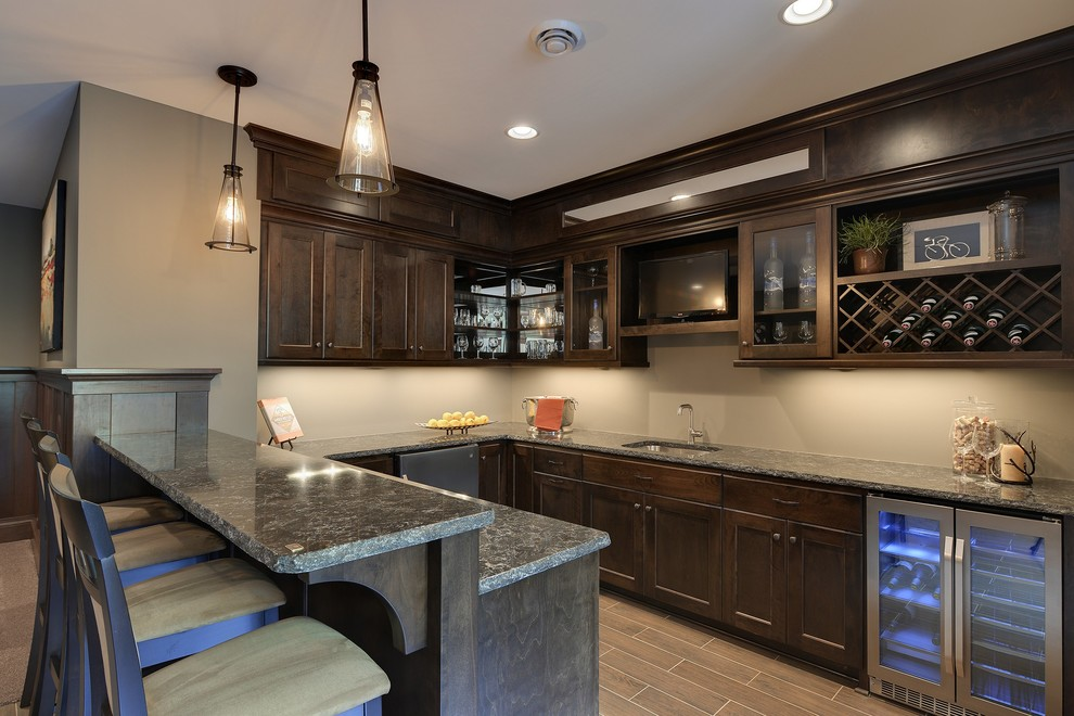 Thomasville Cabinets Home Bar Traditional with Counter Stools Dark Wood Shaker Panel Cabinetry