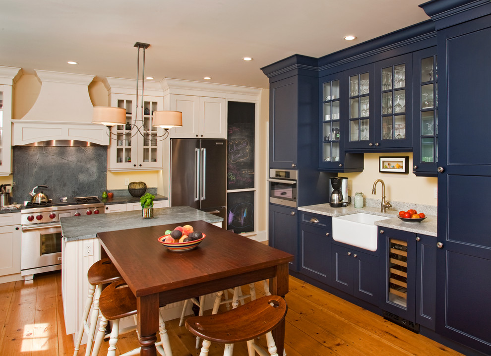 Thomasville Cabinets Kitchen Farmhouse with Beadboard Beige Walls Blue Cabinets Chalkboard Cottage