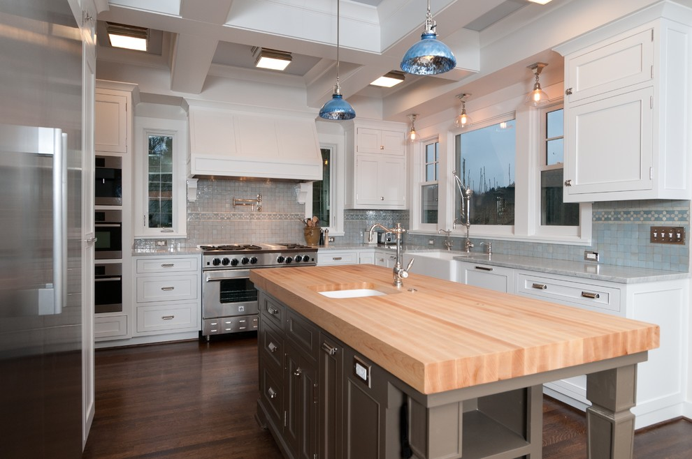 Thomasville Cabinets Kitchen Traditional with Butcher Block Butcher Block Countertops Coffered Ceiling