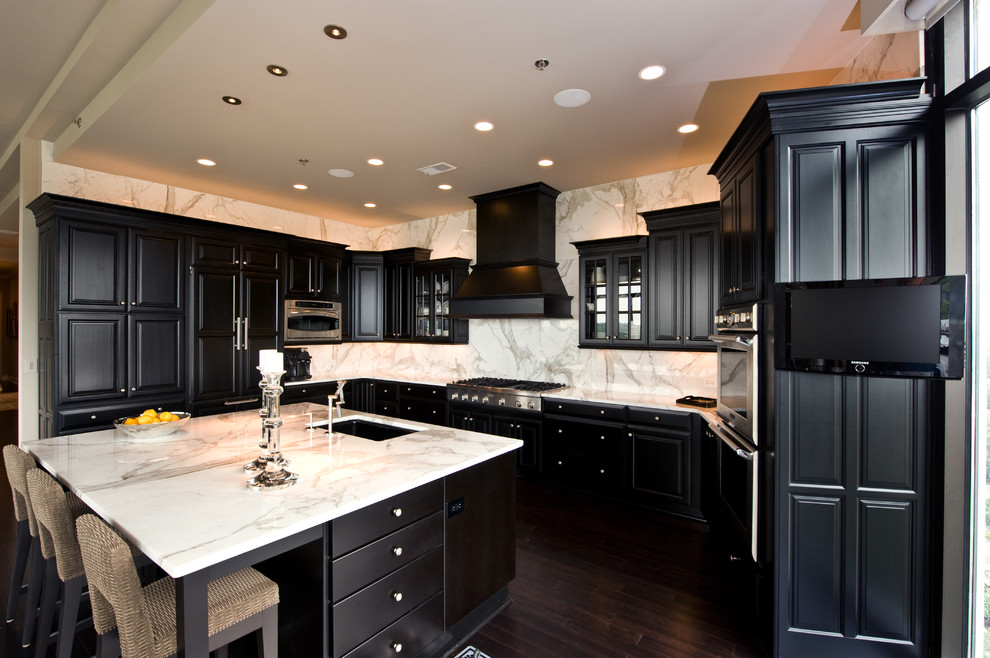 thomasville kitchen cabinets Kitchen Traditional with black cabinets breakfast bar cabinet front refrigerator
