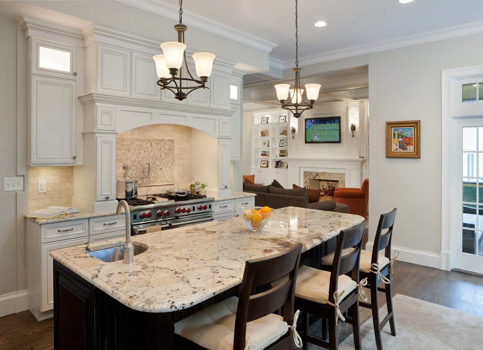 Thomasville Kitchen Cabinets Kitchen Traditional with Built in Shelves Counter Stools Crown Molding