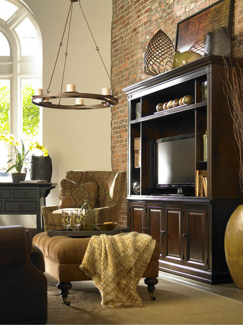 Thomasville Lighting Family Room Rustic with Brick Wall Ceiling Lighting Chandelier Earth Tone Colors Media1