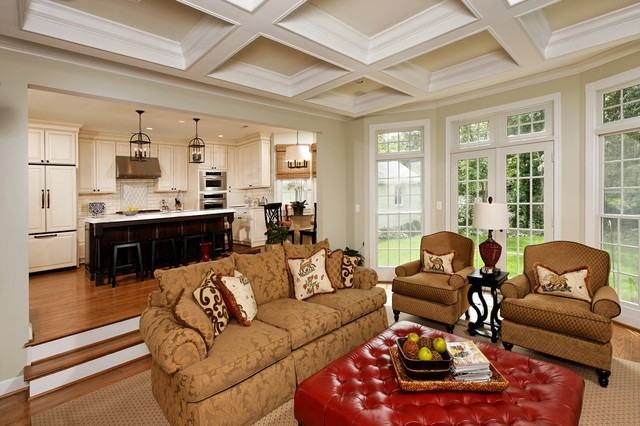 thomasville lighting Family Room Traditional with area rug coffered ceiling damask french doors integrated kitchen