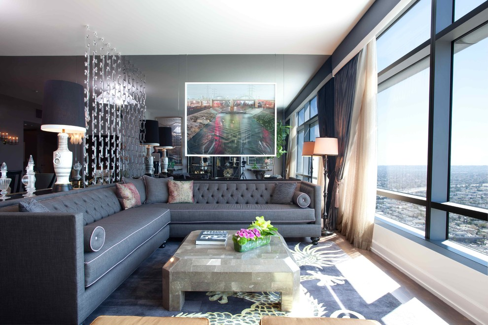 Thomasville Sectional Sofas Living Room Eclectic with Artwork Aubergine Black Trim Floor Lamp Gray