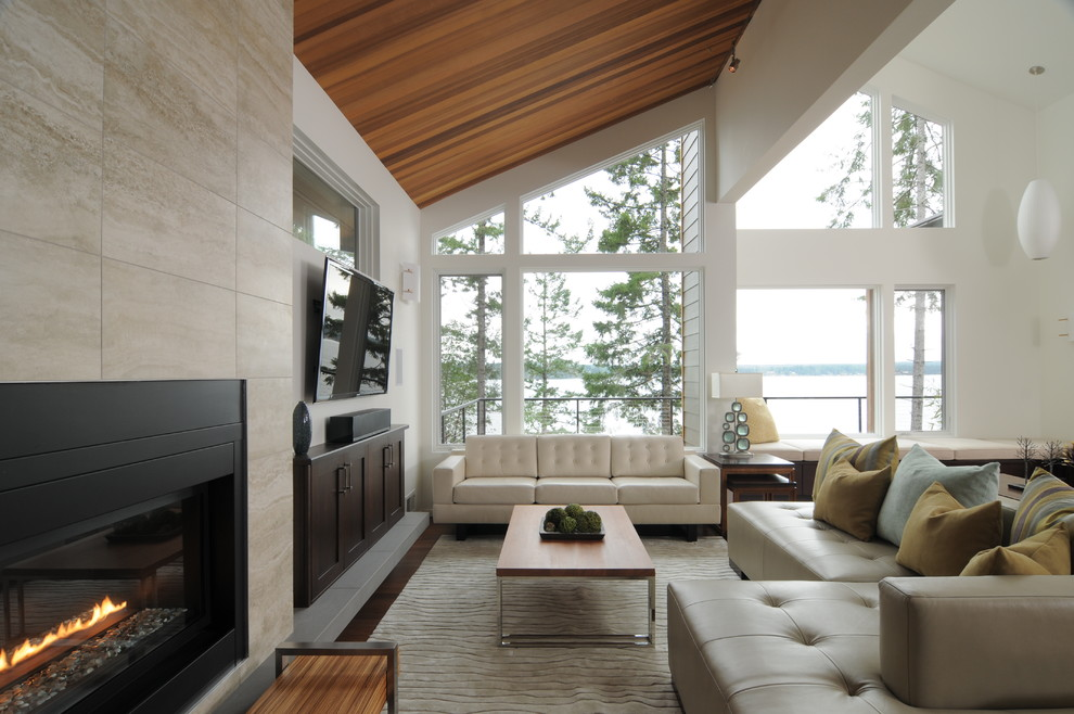 Thomasville Sofa Living Room Contemporary with Contemporary Corner Sofa Lantern Modern Fireplace Neutral