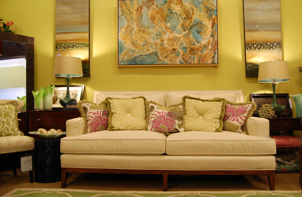 Thomasville Sofa Living Room Transitional With Accent Chair Beige Carpet  Beige Couch Beige