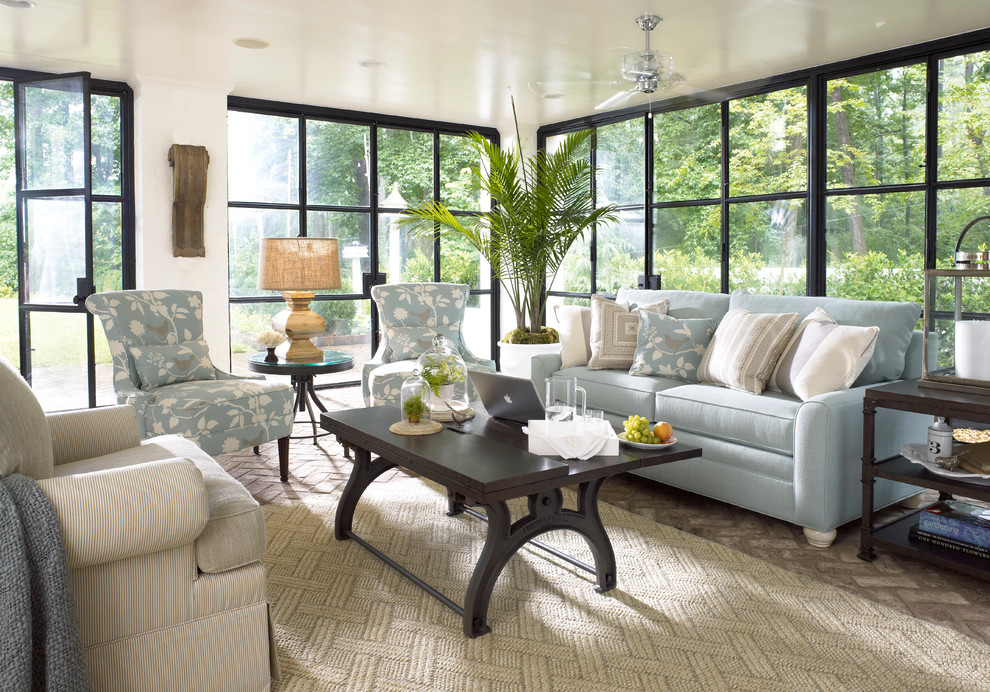 Thomasville Sofas Family Room Industrial with Blue Floral Blue Sofa Brick Floor Clear