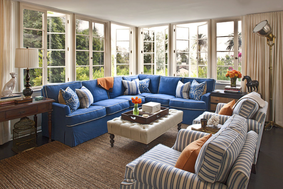 Ticking Fabric Family Room Transitional with Blue Couch Casement Windows Corner Sofa Curtains